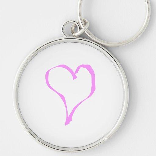 Corazón rosado y blanco bonito del amor llaveros personalizados