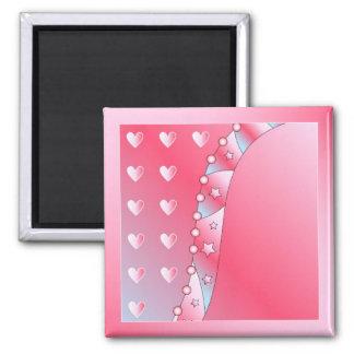 Corazón rosado y blanco imán cuadrado
