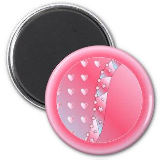 Corazón rosado y blanco imán redondo 5 cm