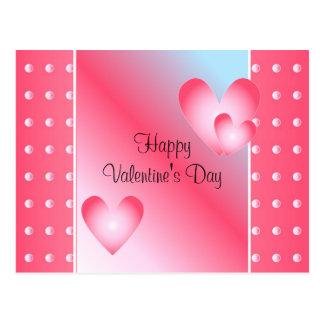 Corazón rosado y blanco postal