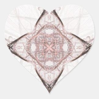 Corazón rosado y gris del arte del fractal pegatina en forma de corazón