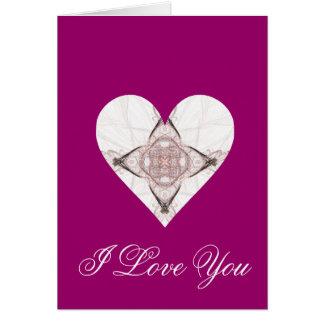 Corazón rosado y gris del arte del fractal tarjeta de felicitación
