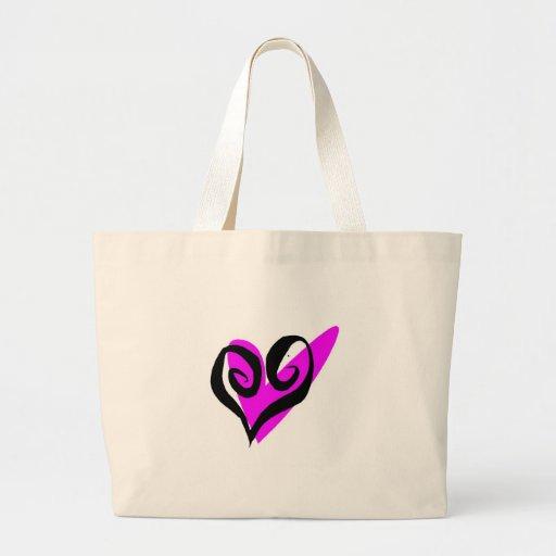 Corazón rosado y negro bolsa