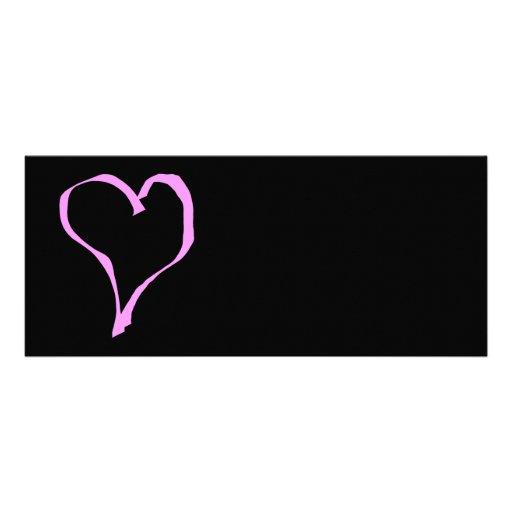 Corazón rosado y negro bonito del amor comunicado personalizado