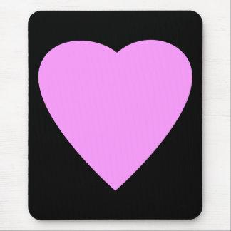 Corazón rosado y negro bonito del amor alfombrilla de raton