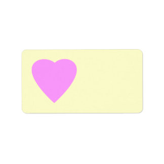 Corazón rosado y poner crema bonito del amor etiquetas de dirección