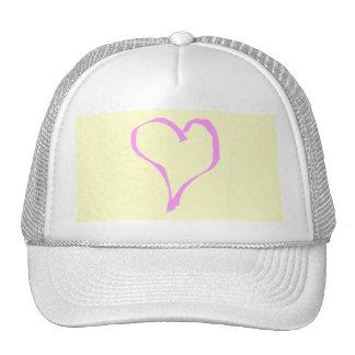 Corazón rosado y poner crema bonito del amor gorro de camionero