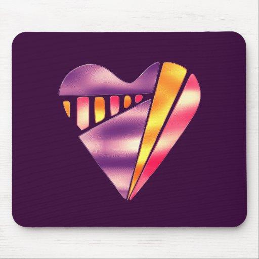 corazón rosado y púrpura del estilo de los años 80 alfombrillas de raton