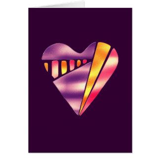 corazón rosado y púrpura del estilo de los años 80 tarjeta de felicitación
