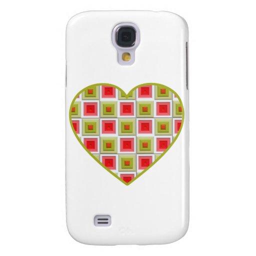 Corazón rosado y verde de los cuadrados