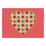 Corazón rosado y verde de los cuadrados felicitaciones