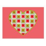 Corazón rosado y verde de los cuadrados tarjetas postales