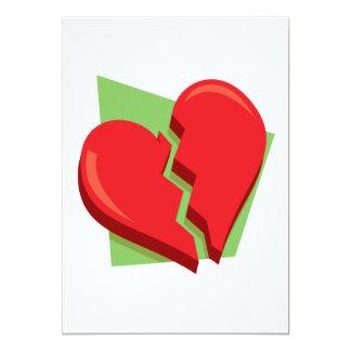 Corazón roto invitación 12,7 x 17,8 cm