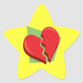 Corazón roto pegatina en forma de estrella