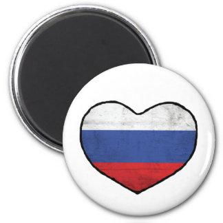 Corazón ruso imán redondo 5 cm