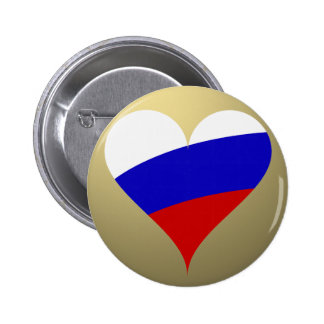 Corazón ruso pin redondo de 2 pulgadas