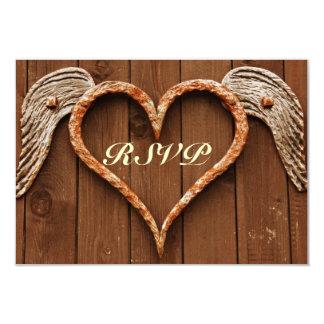 """Corazón rústico con las tarjetas de madera de RSVP Invitación 3.5"""" X 5"""""""