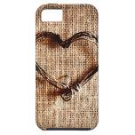 Corazón rústico de la guita del país en la impresi iPhone 5 cárcasas