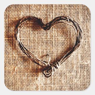 Corazón rústico de la guita del país en la impresi calcomanías cuadradass personalizadas