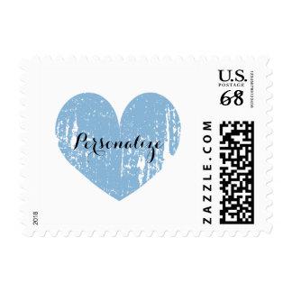 Corazón rústico del vintage azul 70 sellos del