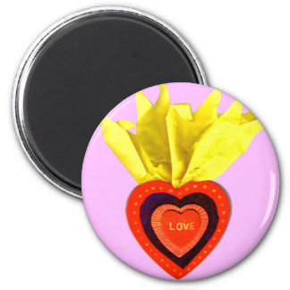 Corazón sagrado con rosa imán redondo 5 cm