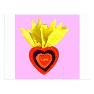 Corazón sagrado con rosa postal