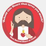 Corazón sagrado de Jesús Etiqueta Redonda