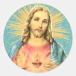 Corazón sagrado de Jesús Etiquetas Redondas