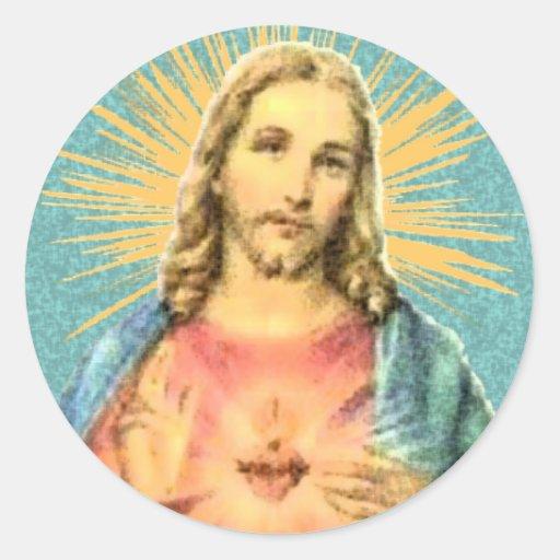 Corazón sagrado de Jesús Pegatina Redonda