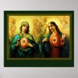 Corazón sagrado de Jesús y corazón inmaculado de Poster