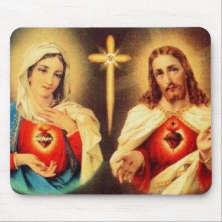 Corazón sagrado de Jesús y de Maria Alfombrillas De Raton