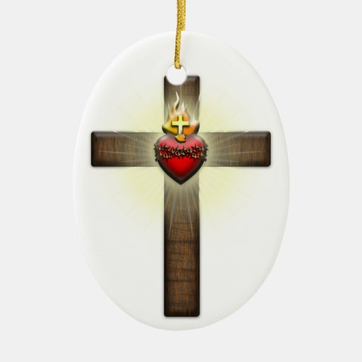 Corazón sagrado de la cruz de Jesús Adorno Navideño Ovalado De Cerámica