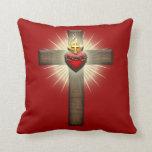 Corazón sagrado de la cruz de Jesús Almohadas