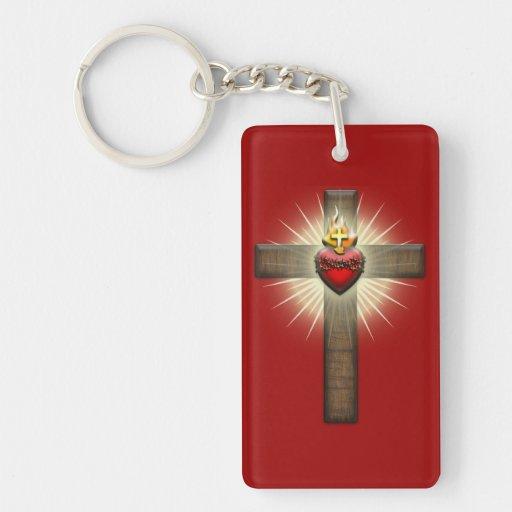 Corazón sagrado de la cruz de Jesús Llavero Rectangular Acrílico A Doble Cara