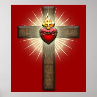 Corazón sagrado de la cruz de Jesús Posters