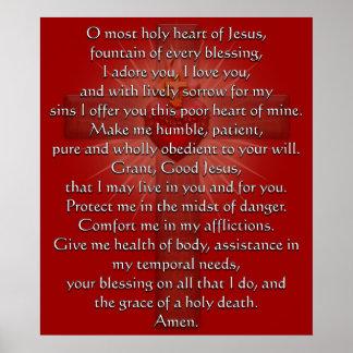 Corazón sagrado de la cruz de Jesús Poster