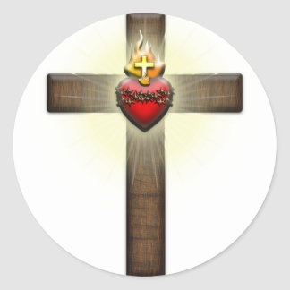 Corazón sagrado de la cruz de Jesús Pegatina Redonda