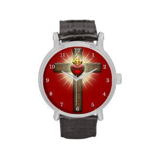Corazón sagrado de la cruz de Jesús Reloj