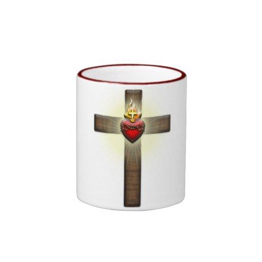 Corazón sagrado de la cruz de Jesús Taza De Café