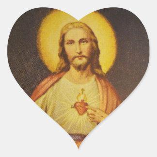 Corazón sagrado de los pegatinas en forma de pegatina en forma de corazón