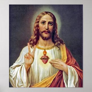 Corazón sagrado del signo de la paz de Jesús Póster