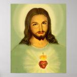 Corazón sagrado del tono verde de Jesús Tradional Póster