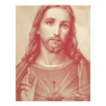 Corazón sagrado del vintage de Jesús Plantilla De Membrete