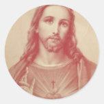 Corazón sagrado del vintage de Jesús Pegatina Redonda