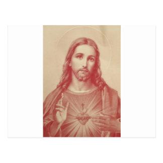 Corazón sagrado del vintage de Jesús Postales