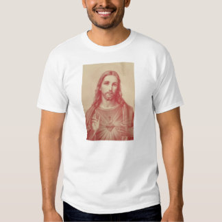 Corazón sagrado del vintage de la camiseta de playera