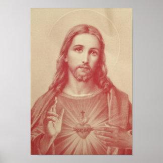 Corazón sagrado del vintage del poster de Jesús
