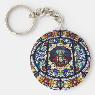 Corazón sagrado del vitral de Jesús Llaveros Personalizados