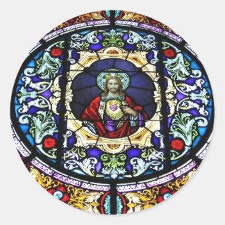 Corazón sagrado del vitral de Jesús Etiquetas Redondas