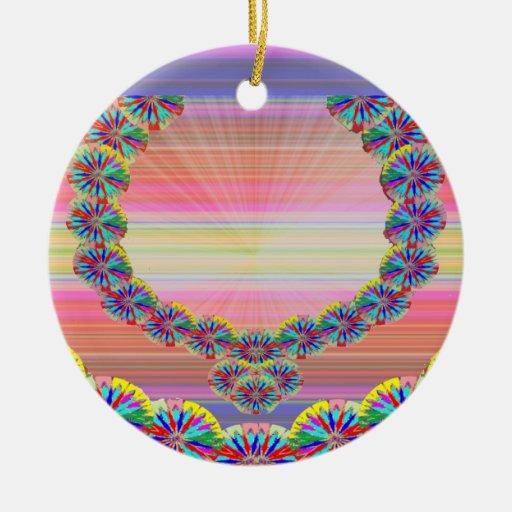 Corazón sagrado - guirnaldas de las joyas n de adorno navideño redondo de cerámica